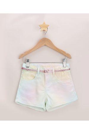 PALOMINO Short de Sarja Infantil Tie Dye com Cinto e Brilho Rosa