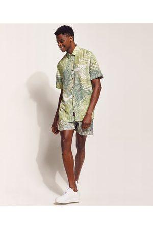 Pipe Camisa Masculina Floral Tropical Manga Curta Off White