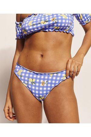 Emi Beachwear Biquíni Calcinha Tanga Picnic Frutas Levanta Bumbum com Proteção UV50+ Biodegradável Azul