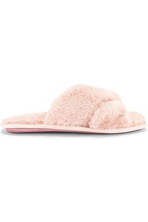 Flora Nikrooz Victoria Teddy Criss Cross Slipper in Pink. - size L (also in M, S)