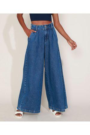 Mindse7 Calça Jeans feminina Mindset Wide Pantalona Cintura Super Alta com Pregas Médio