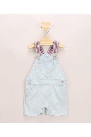 BABY CLUB Jardineira Jeans Infantil com Bolso Coração Alça em Elástico Claro