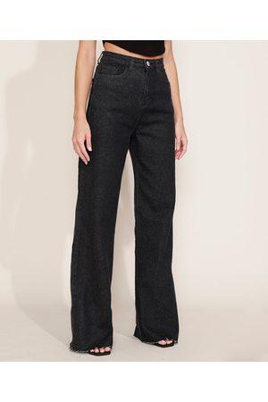 Mindse7 Calça Jeans Feminina Mindset Wide Reta Cintura Super Alta Preta