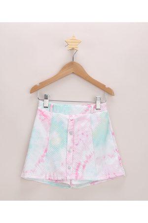 PALOMINO Menina Short - Short Saia Infantil Texturizado Tie Dye com Botões Multicor