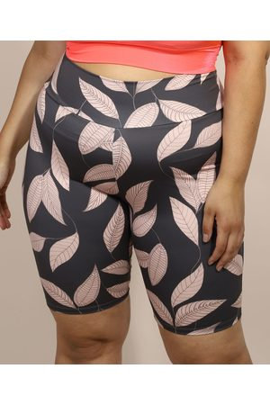 ACE Mulher Bermuda - Bermuda Feminina Plus Size Esportiva Cintura Super Alta Estampada de Folhagem Chumbo