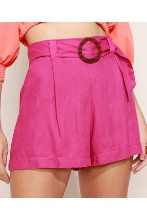 Clockhouse Short Feminino Cintura Super Alta Alfaiatado com Cinto Pink