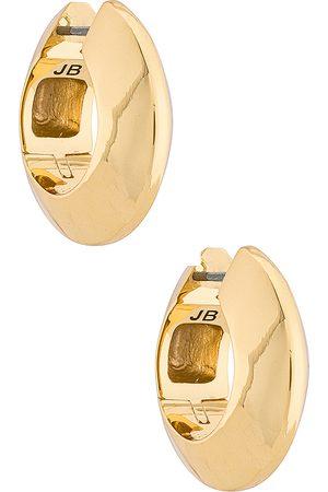Jenny Wide Hinged Hoops Earrings in Metallic .
