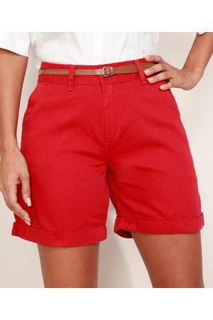 YESSICA Bermuda de Sarja Feminina Cintura Alta Alfaiatada com Cinto Vermelha