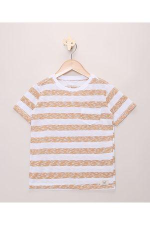 PALOMINO Camiseta Infantil em Flamê Estampada Listrada com Bolso Manga Curta Off White