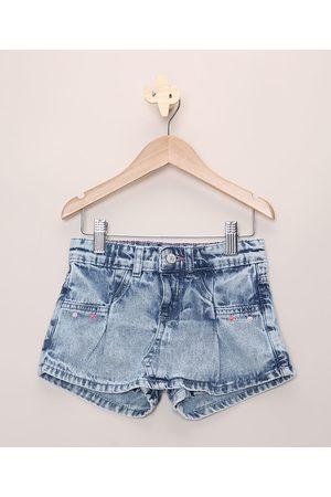 PALOMINO Short Saia Jeans Infantil Marmorizado com Bolsos Claro