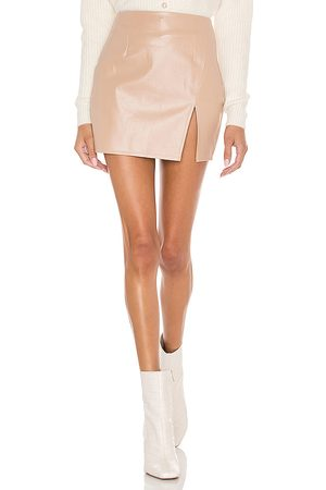 superdown Trinity Faux Leather Skirt in Beige. - size L (also in M, S, XL, XS)