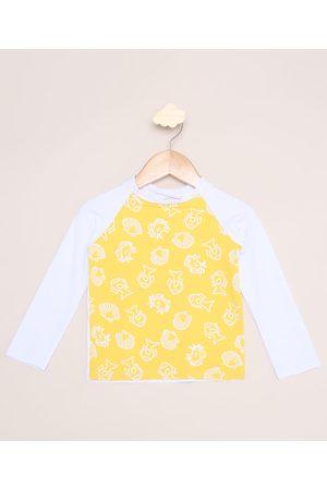 Demillus Menino Moda Praia - Blusa de Praia Infantil Estampada Fundo do Mar Manga Longa com Proteção UV50+ Branca