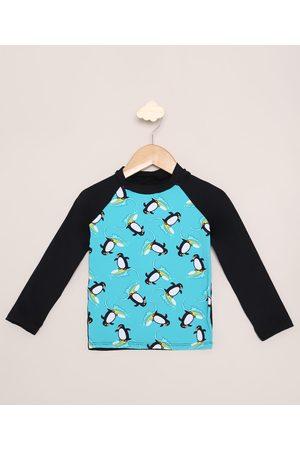 Demillus Menino Moda Praia - Blusa de Praia Infantil Estampada Pinguins Manga Longa com Proteção UV50+ Preta