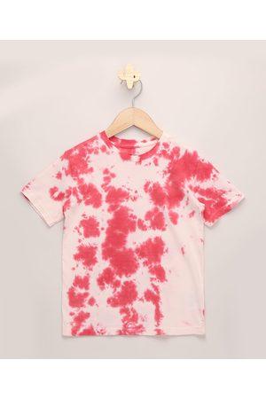 PALOMINO Camiseta Infantil Estampada Tie Dye Manga Curta Rosa