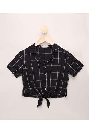 Miss Fifteen Camisa Juvenil Estampada Geométrica com Nó Manga Curta Preta