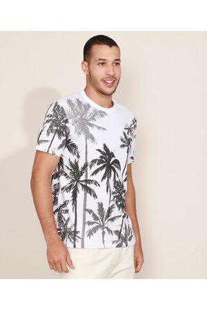 Clockhouse Camiseta Masculina Estampada de Coqueiros Manga Curta Gola Careca Branca