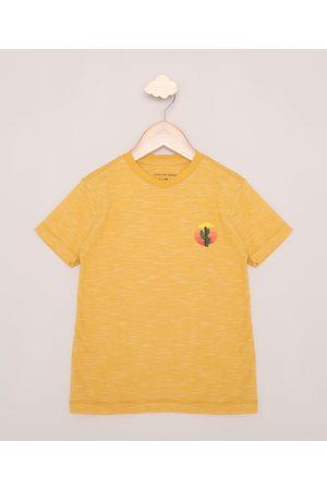 PALOMINO Camiseta Infantil Cacto Manga Curta Amarela