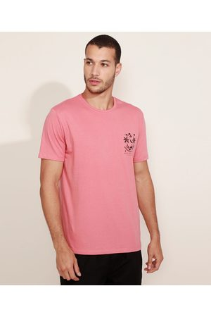 "Suncoast Camiseta Masculina Summer Nights"" Manga Curta Gola Careca Coral"""