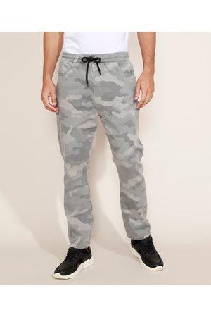 Clockhouse Homem Calça de Alfataria - Calça de Sarja Masculina Jogger Skinny Estampada Camuflada Cinza
