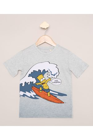 Os Simpsons Menino Manga Curta - Camiseta Infantil Bart Surfista Manga Curta Mescla Claro