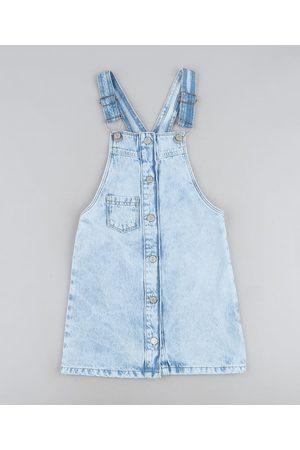 PALOMINO Salopete Jeans Infantil com Botões e Babados Claro