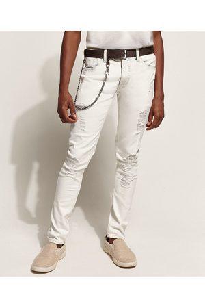 Clockhouse Calça Jeans Masculina Super Skinny Destroyed com Cinto e Corrente Claro