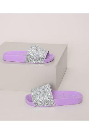 MOLEKINHA Chinelo Slide Infantil com Glitter Lilás