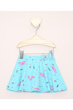 BABY CLUB Short Saia Infantil Flamingos Verde Água