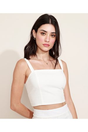 Clockhouse Top Cropped Feminino com Lastex Alça Média Decote Reto Off White