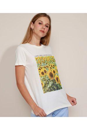 Mindse7 T-Shirt Feminina Mindset Girassóis Manga Curta Decote Redondo Off White