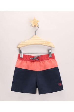 BABY CLUB Menino Bermuda - Bermuda Surf Infantil Listrada com Bolso Azul Marinho