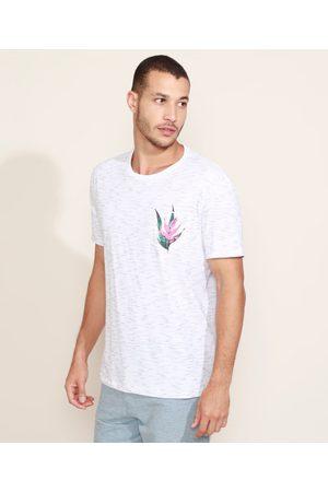 Suncoast Camiseta Masculina com Bolso Floral Manga Curta Gola Careca Branca