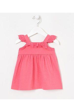 Teddy Boom (0 a 18 meses) Vestido Infantil Franzido com Babadinhos - Tam 0 a 18 meses | | | 3-6M
