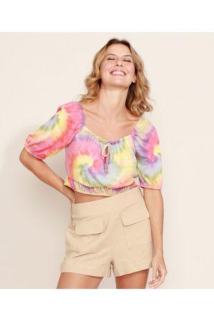 Clockhouse Mulher Blusa - Blusa Feminina Cropped Texturizada Estampada Tie Dye Manga Bufante Decote Redondo Multicor