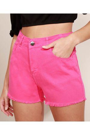 SAWARY Short de Sarja Feminino Boy Cintura Alta com Barra Desfiada Pink