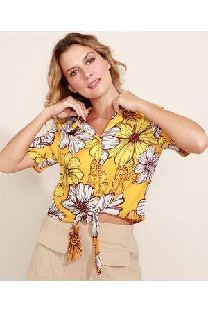 Clockhouse Camisa Feminina Estampada Floral Onça com Nó Manga Curta Amarela