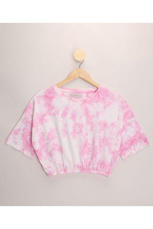 Miss Fifteen Blusa Juvenil Ampla Estampada Tie Dye Manga Curta Rosa