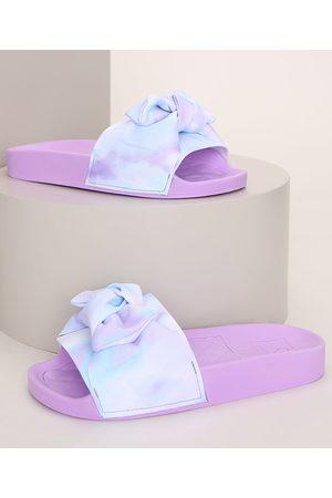 MOLEKINHA Chinelo Slide Infantil Estampado Tie Dye com Laço Lilás