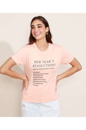 "Clockhouse Blusa Feminina New Year's Resolutions"" com Strass Manga Curta Decote Redondo Coral"""