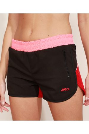 ACE Short Feminino Esportivo Running Cintura Média Color Block