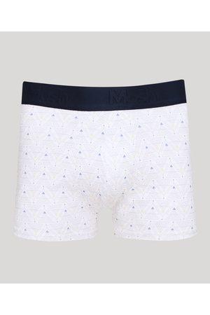 Mash Cueca Masculina Boxer Estampada Geométrica Branca