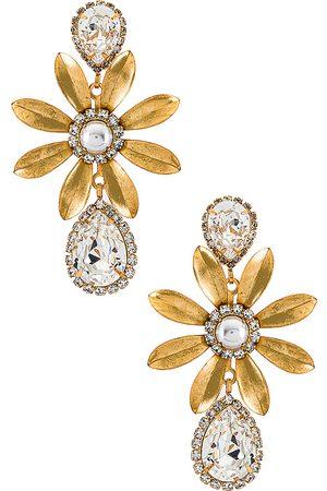 ELIZABETH COLE Chrissy Earrings in Metallic Gold.