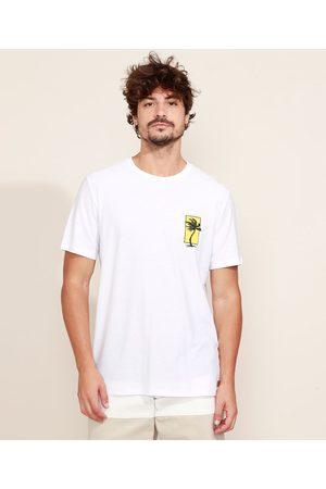 Suncoast Camiseta Masculina Flamê Praia Maga Curta Gola Careca Branca