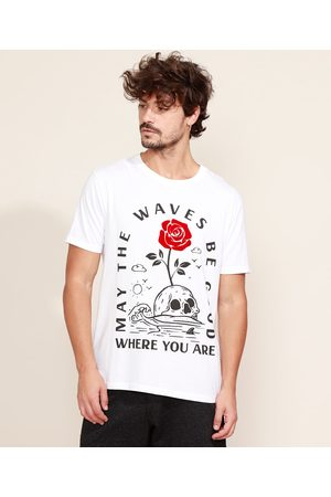 Clockhouse Camiseta Masculina Caveira e Flor Flocada Manga Curta Gola Careca Branca
