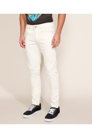 Clockhouse Calça de Sarja Masculina Skinny Destroyed Off White
