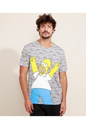 Os Simpsons Camiseta Masculina Estampada Hommer Manga Curta Gola Careca Cinza