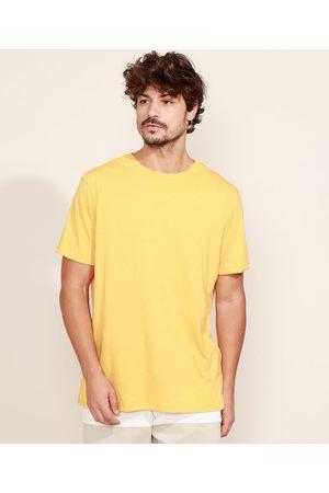 Basics Camiseta Masculina Básica Manga Curta Gola Careca Mostarda