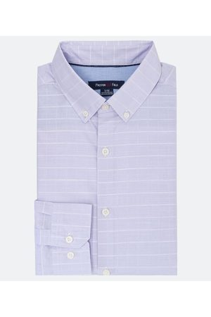 Preston Field Homem Camisa Manga Comprida - Camisa Manga Longa Slim Grid Texturizada       06