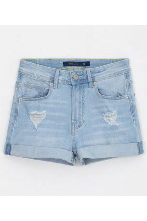 Blue Steel Short Reto Jeans Liso com Puídos e Barra Dobradinha | | | 34