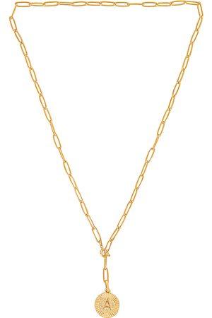BRACHA Initial Medallion Lariat Necklace in Metallic . - size A (also in B, C, D, E, G, H, J, K, L, M, N, P, R, S, T)